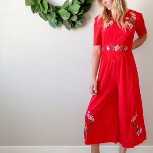 NWT ASOS Red Embroidered Flowing Cropped Jumpsuit